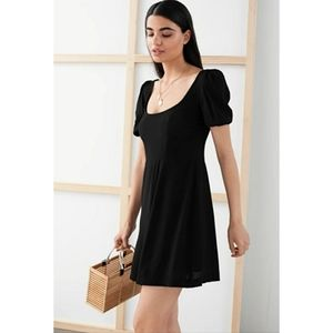 & Other Stories Black Puff Sleeve Crepe Mini Dress